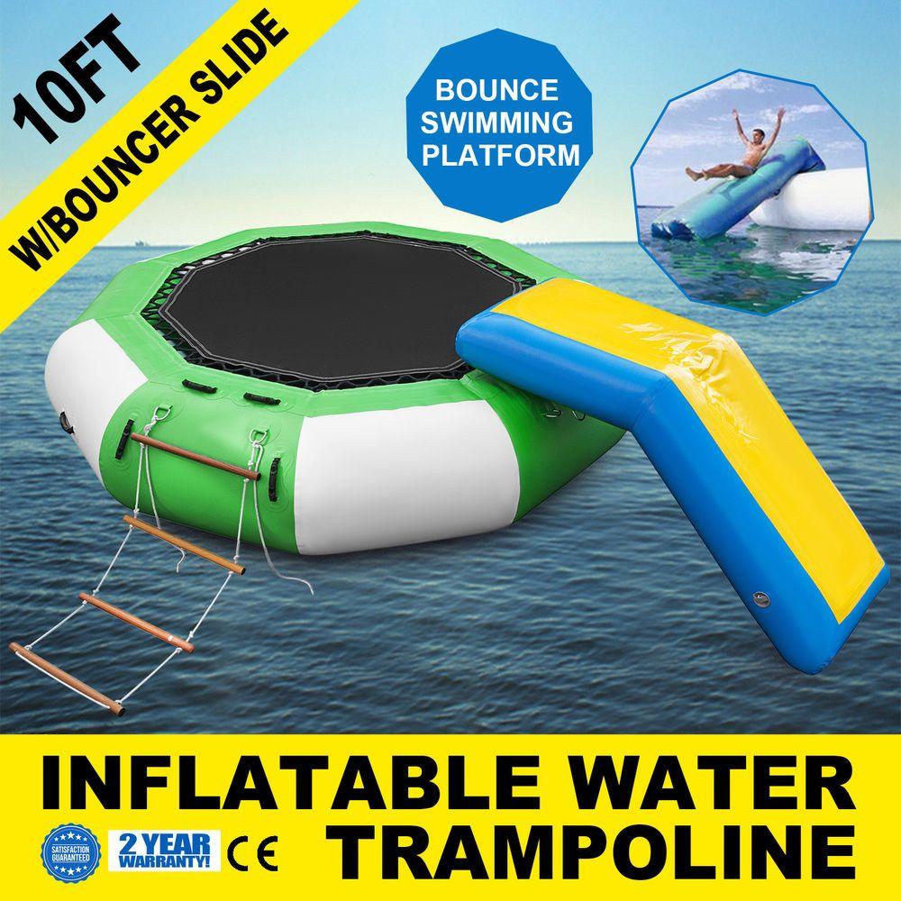 10Ft Inflatable Water Trampoline with Bouncer Slide w//Ladder Platform Lake
