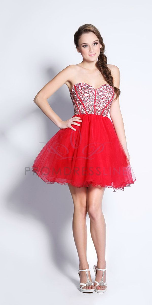 28166e8c4fa Red Sequined Strapless Sweetheart Tulle layered Short Cocktail Prom Dress -  N2662 N2662  110.00 on www.PromDressLine.Com