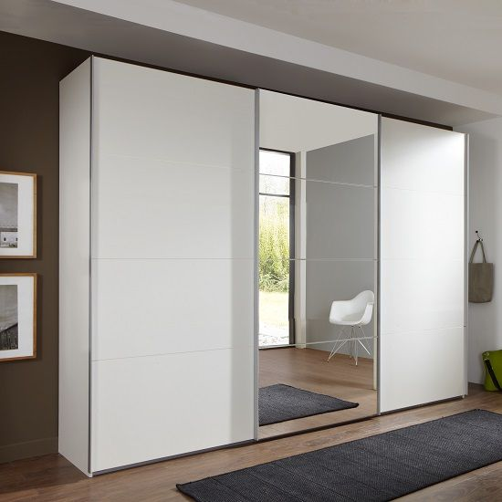 Crato Mirrored Sliding Wardrobe Large In White With 3 Doors Furniture In Fashion White Wardrobe Bedroom Wardrobe Design Bedroom Sliding Wardrobe