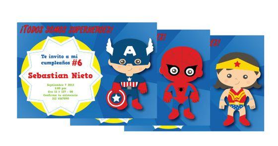 Tarjetas De Invitación Superhéroes Invitaciones De