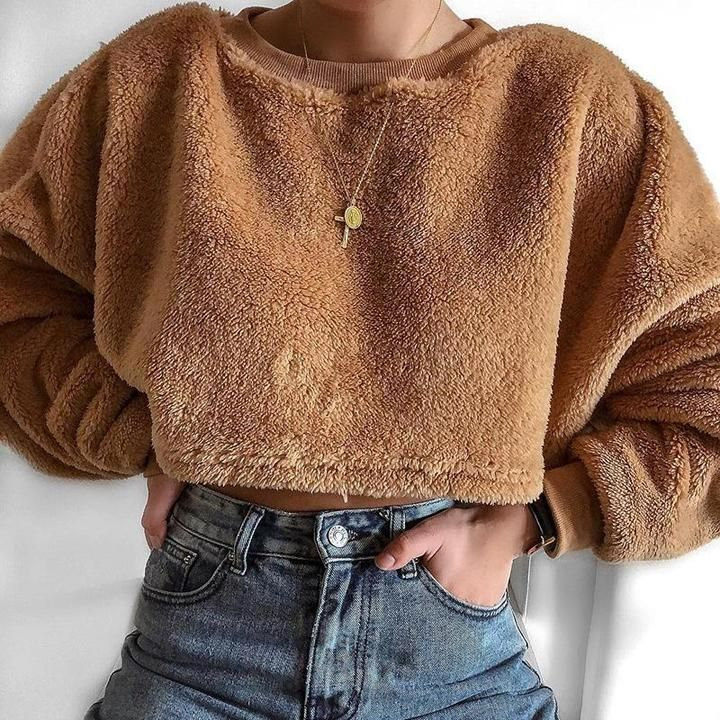 Solid Color Plush Short Sweater
