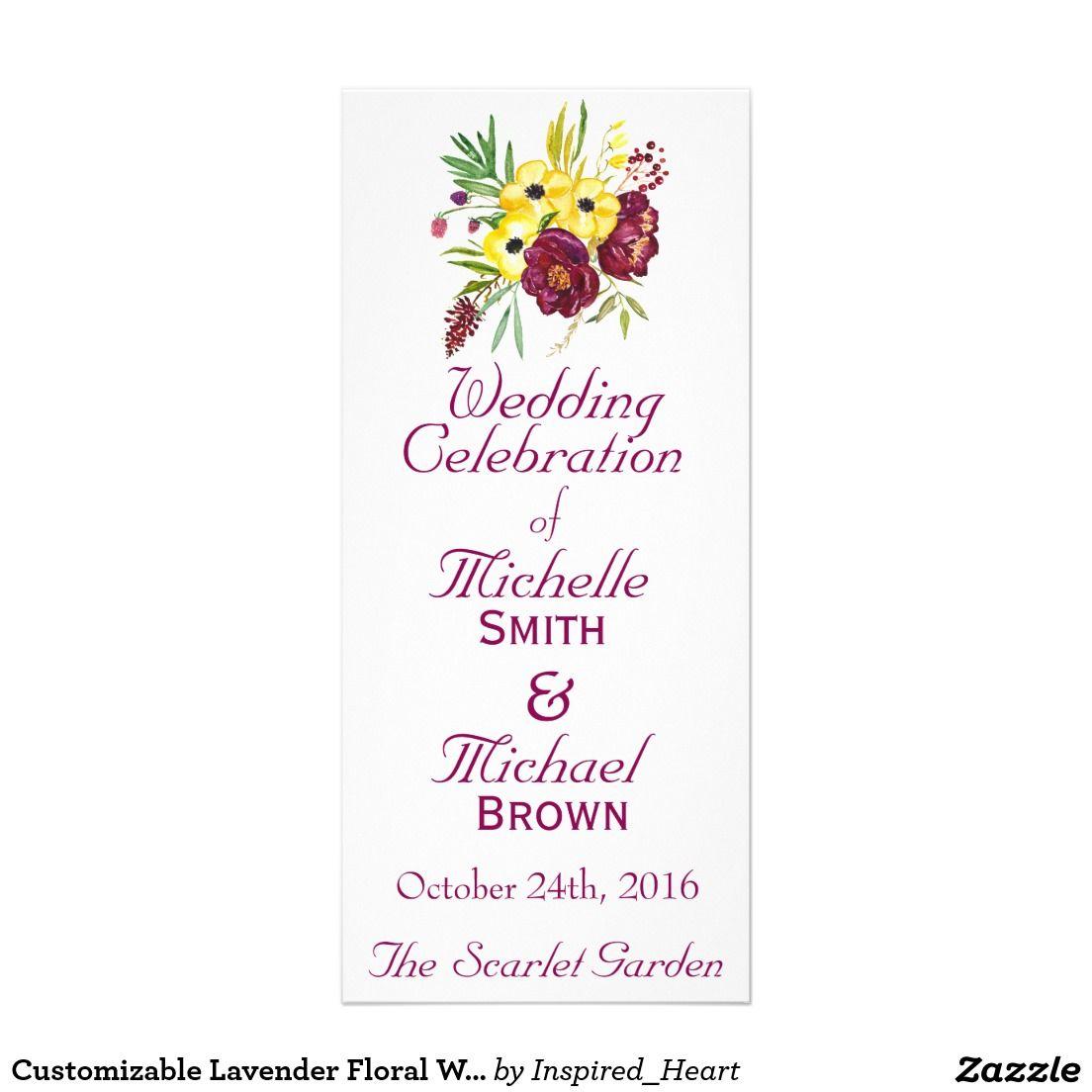 Customizable Lavender Floral WEDDING PROGRAM