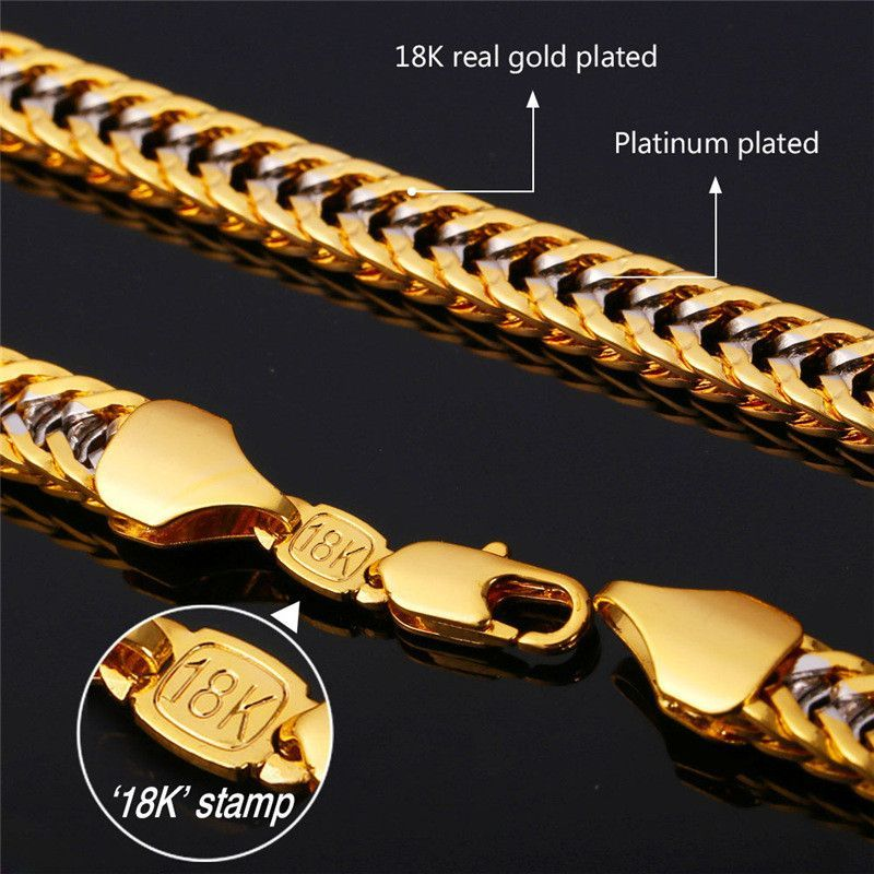 U7 Two Tone Gold Chain For Men Jewelry With 18k Stamp Real Gold Plated 2015 New Trendy 55 Cm Franco Ch Gold Chains For Men Chains For Men Mens Chain Necklace