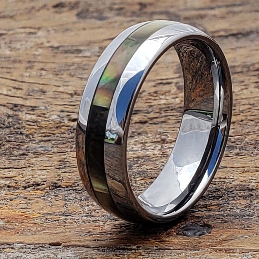 Shell Ring Mens Wedding Band Tungsten Inlay Ring Mens