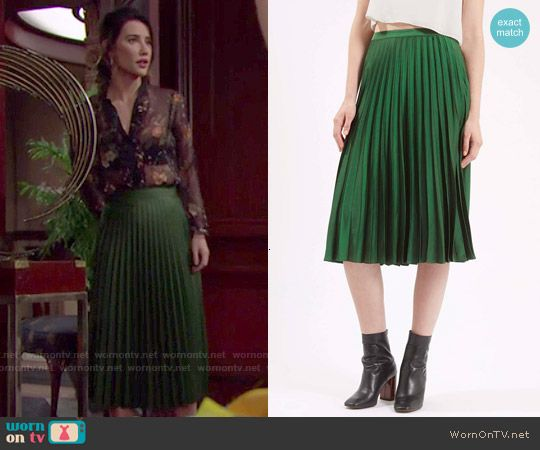 Steffy's green pleated midi skirt on The Bold and the Beautiful ...