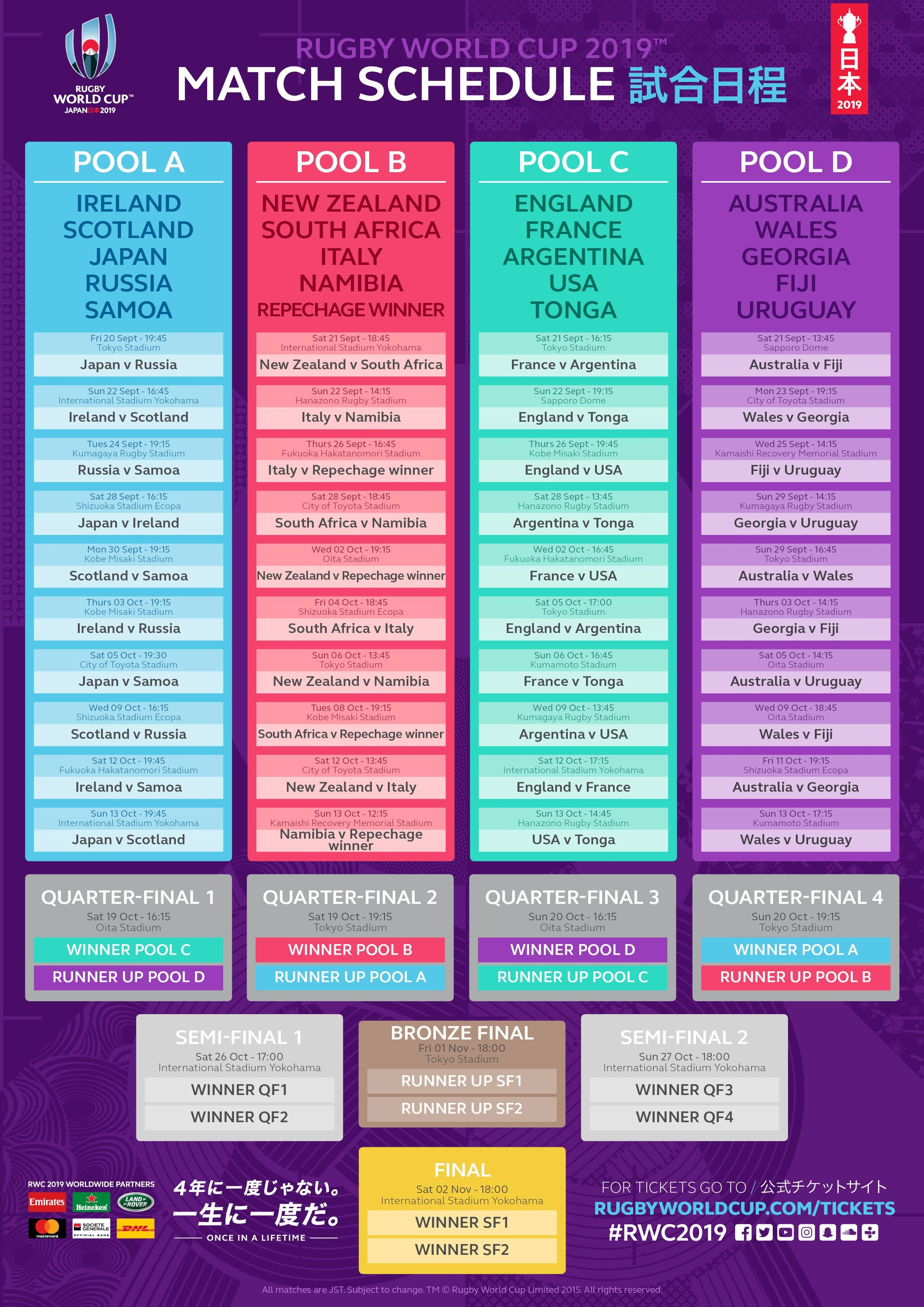 World Cup Rugby Match Schedule World Cup Fixtures World Cup Schedule Rugby World Cup