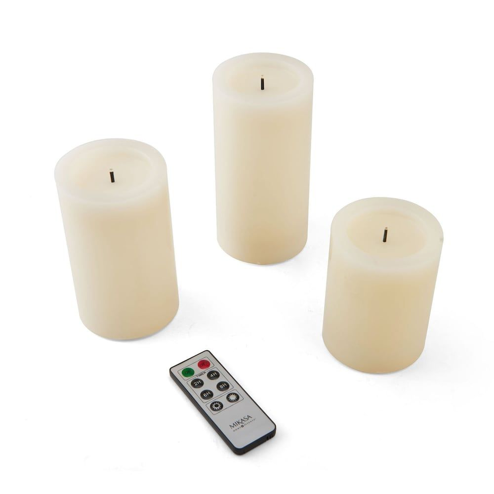 Mikasa Litwick Realistic Flameless Remote Control Wax Pillar Candle 3 Piece Set Pillar Candles Candles Mikasa