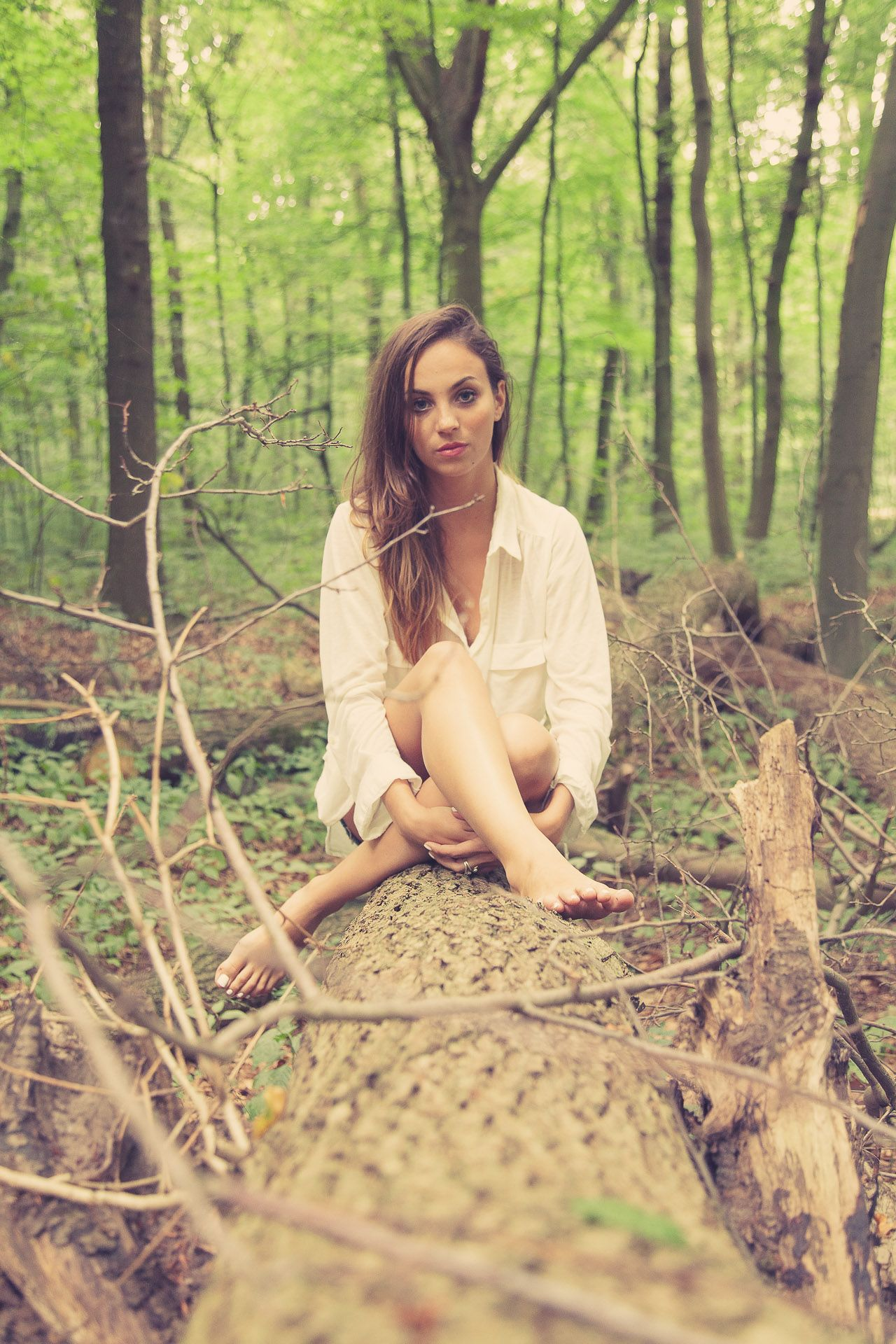 Beautiful girl in the forest, wearing only a white shirt | Model ...