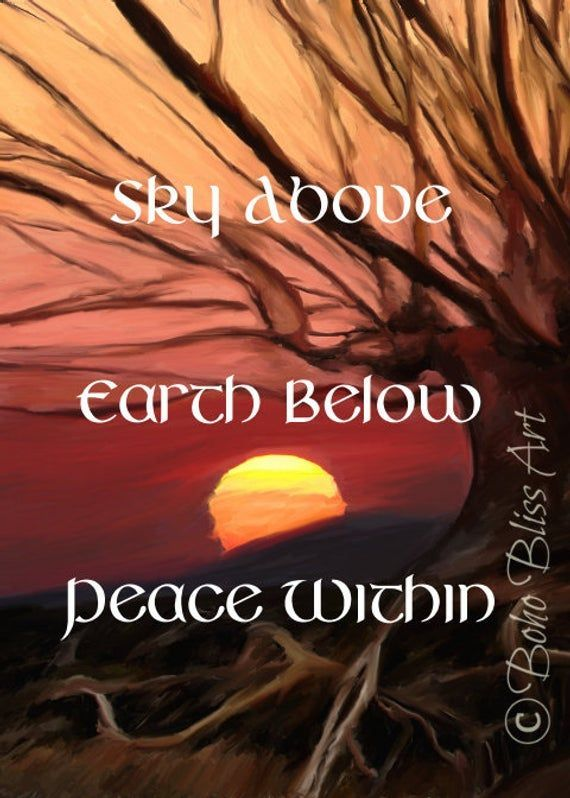 Sky Above Earth Below Peace Within Empowering Quote Wall Art | Pagan Decor | Wiccan Gift | Spiritual Quote Wall Decor | Spirituality Print #wiccandecor