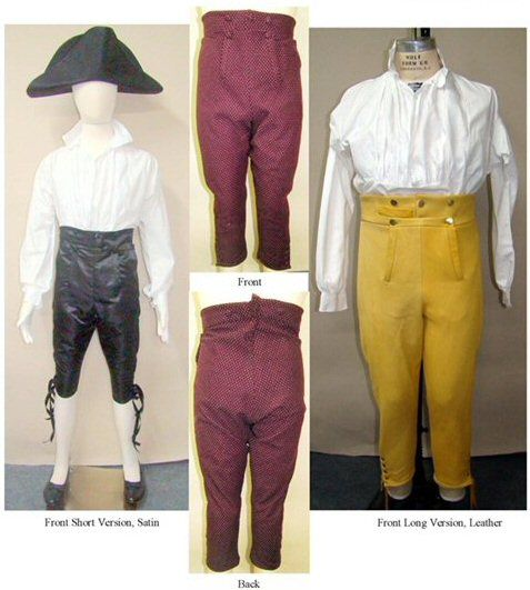 Also known as Small Falls. Short breeches with a narrow fall front opening, with side frog pockets and watch pocket. These breeches can be cut long, to reach to the calf, or short, ending just unde…