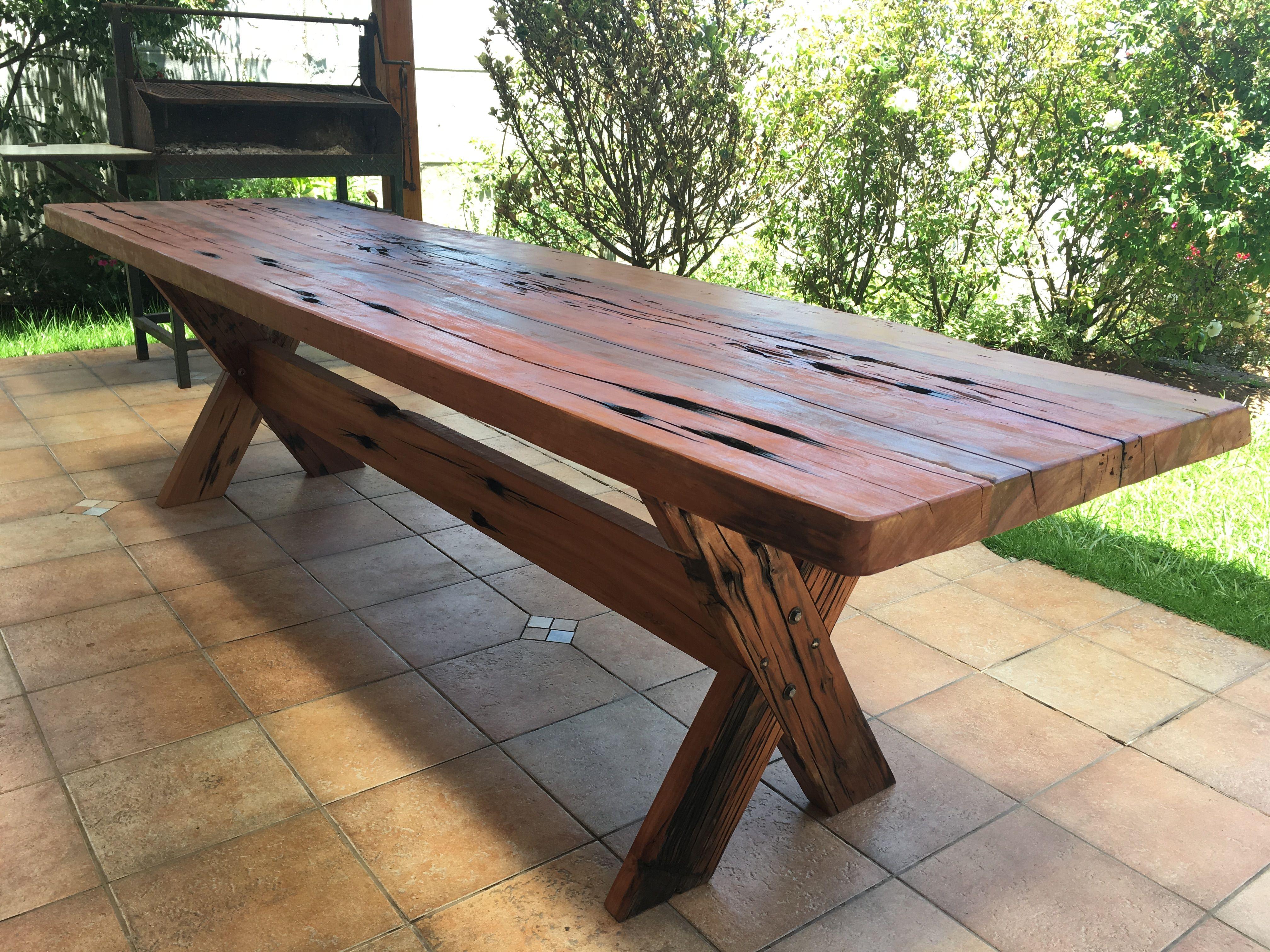 Mesa r stica de durmientes de roble ideal para quincho o terraza dimensi n de 3 10 m de largo - Mesa rustica madera ...