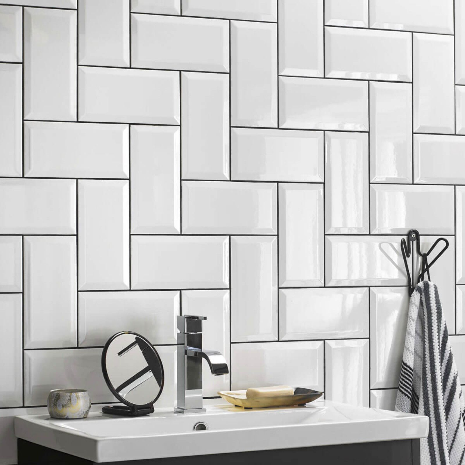 British Ceramic Tile Metro White Bevel Gloss Wall British Ceramic Tile White Bathroom Tiles Bathroom Tile Designs Brick Bathroom