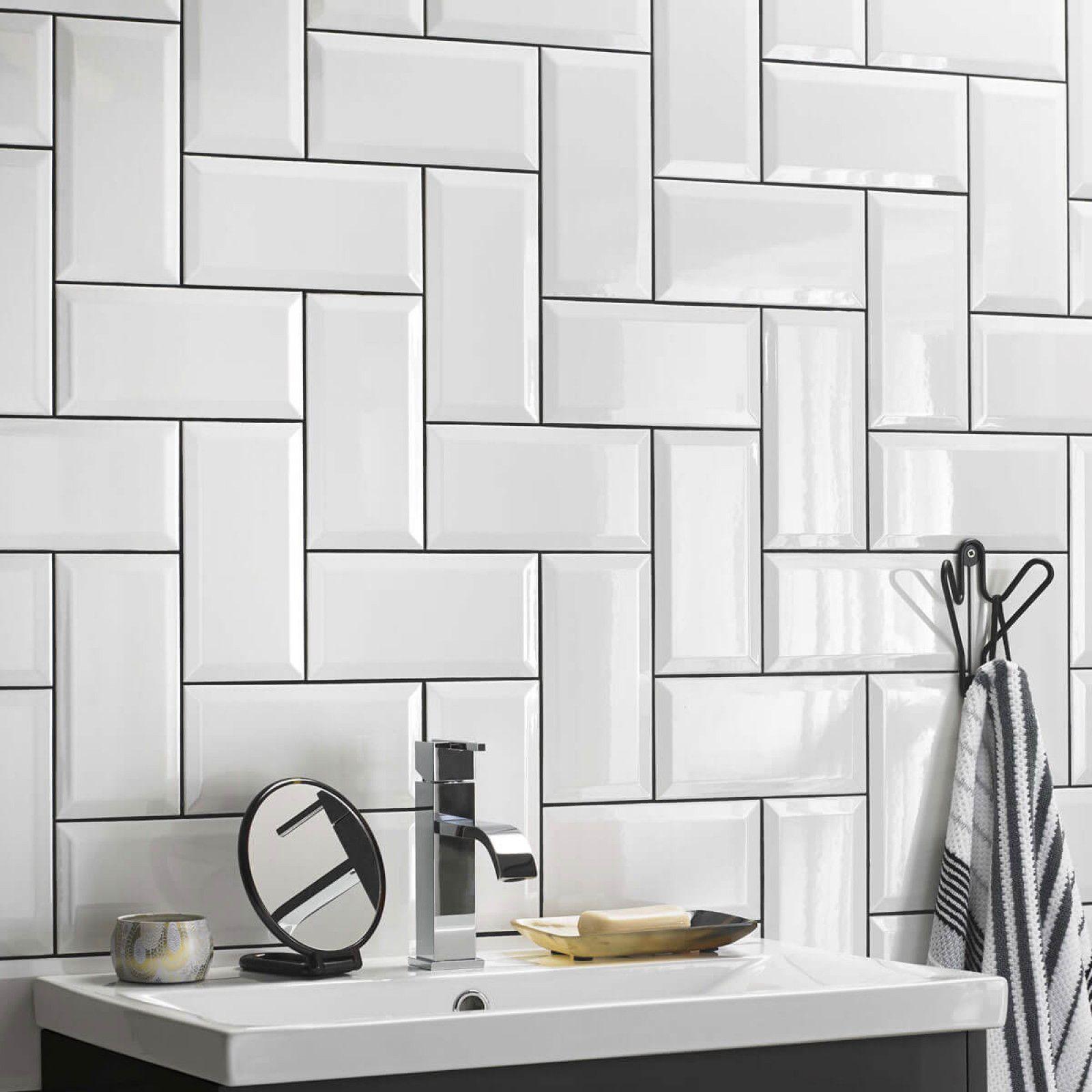 Metro White Bevel Gloss Wall White Bathroom Tiles White