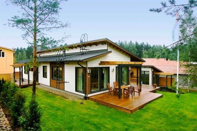 Одноэтажные финские дома из бруса с верандой: как ...