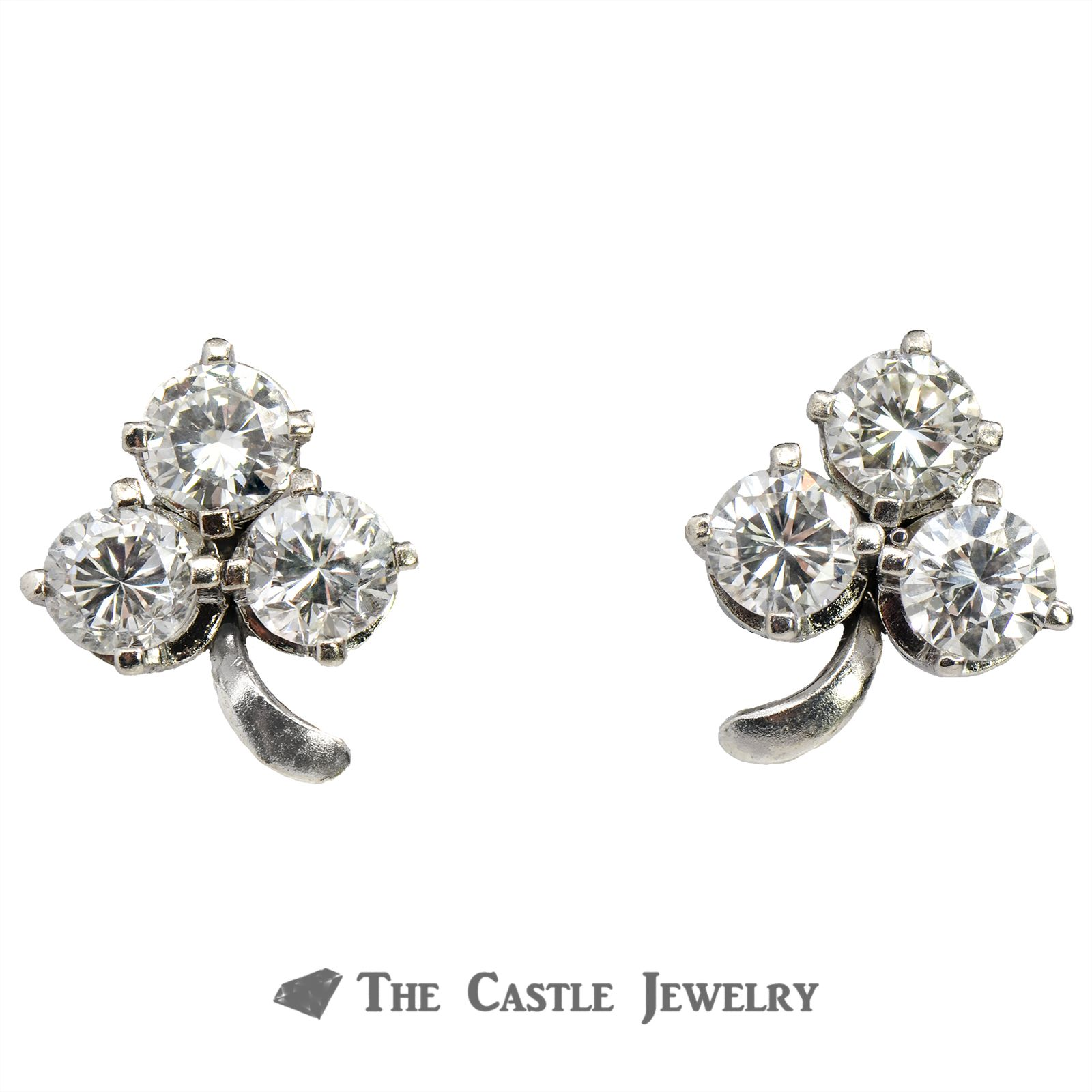 340b1292d8a078 3 Leaf Clover Earrings of 1.38cttw Round Brilliant Cut Diamonds in 10K  White Gold