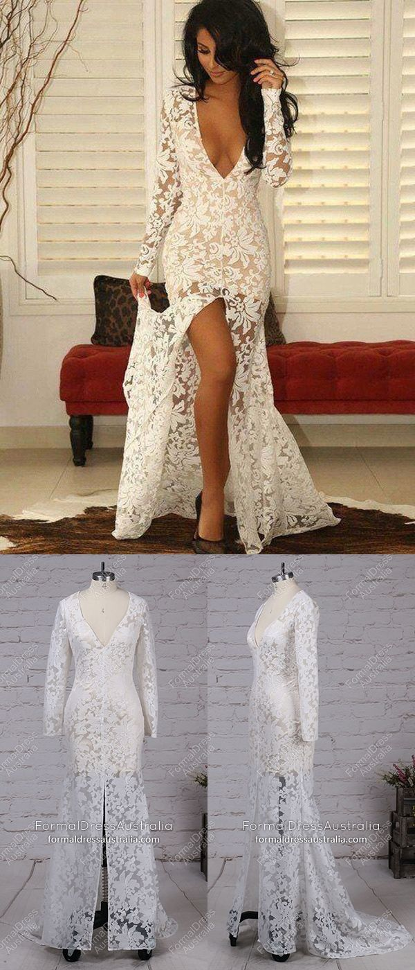 Long formal dresses white mermaid prom dresses long sleeve lace