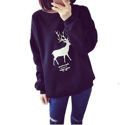 Autumn Woman Sweatershirt Cotton Deer Clothes Women's christmas Winter Hoodie Sweatshirt Jumper Hooded Pullover Top