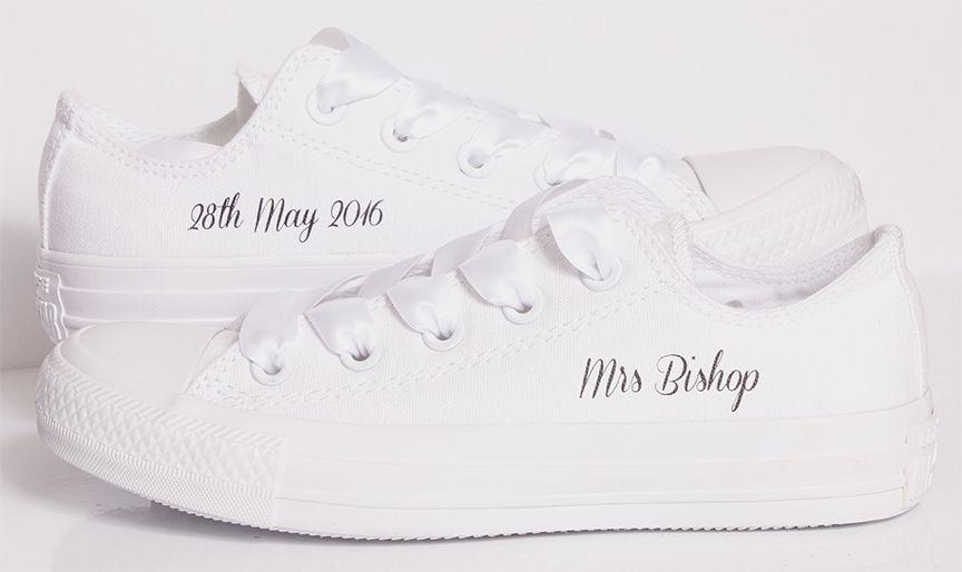 767ed27229bab0 Unique Bride Converse. Wedding Converse - Mono White Converse with Mrs name  and wedding date  weddingconverse  brideconverse