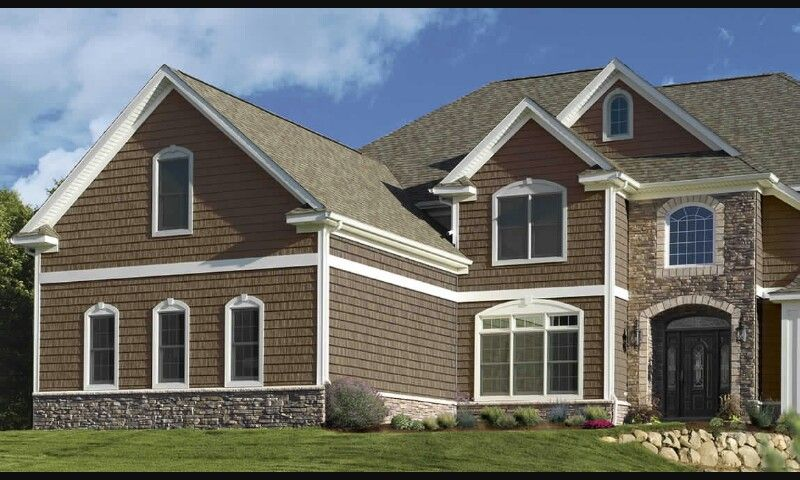 Brown Siding Grey Roof And Stone What It Would Look Like If We Went Too Light Shingle Siding Stone Siding House Vinyl Siding