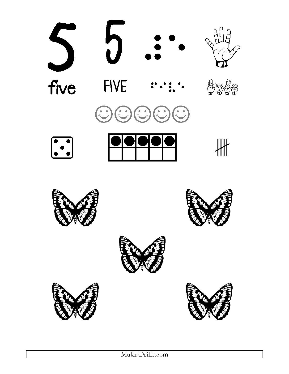 Number 5 Recognition Poster with a Butterfly Theme Math Worksheet ...