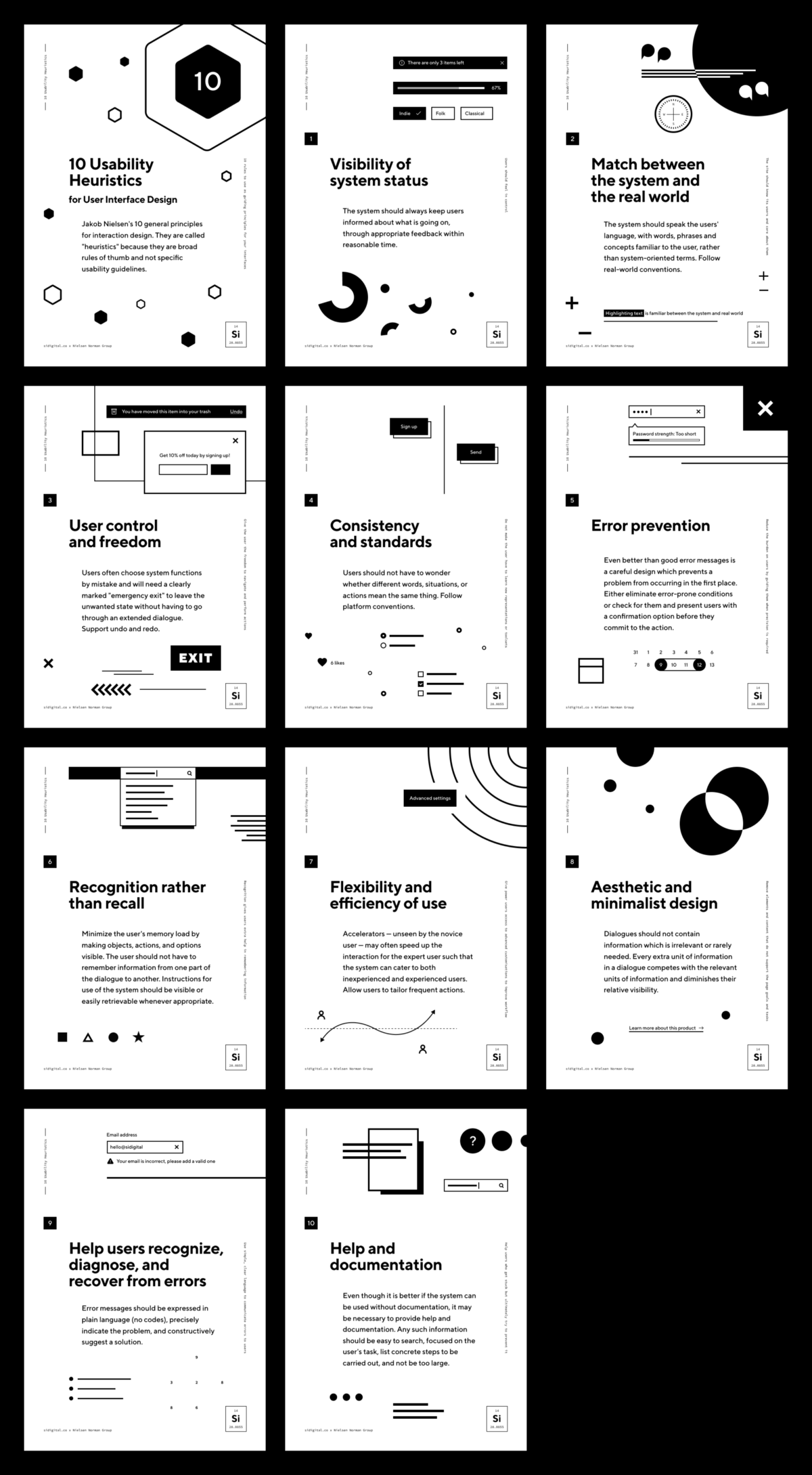The 10 Usability Heuristics Free Posters For Every Design Office Interaction Design Web Design Typografie