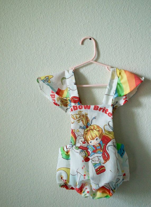 4c299bce45f0 Rainbow Brite Baby Romper Infant Outfit Ribbon by HausofHalo