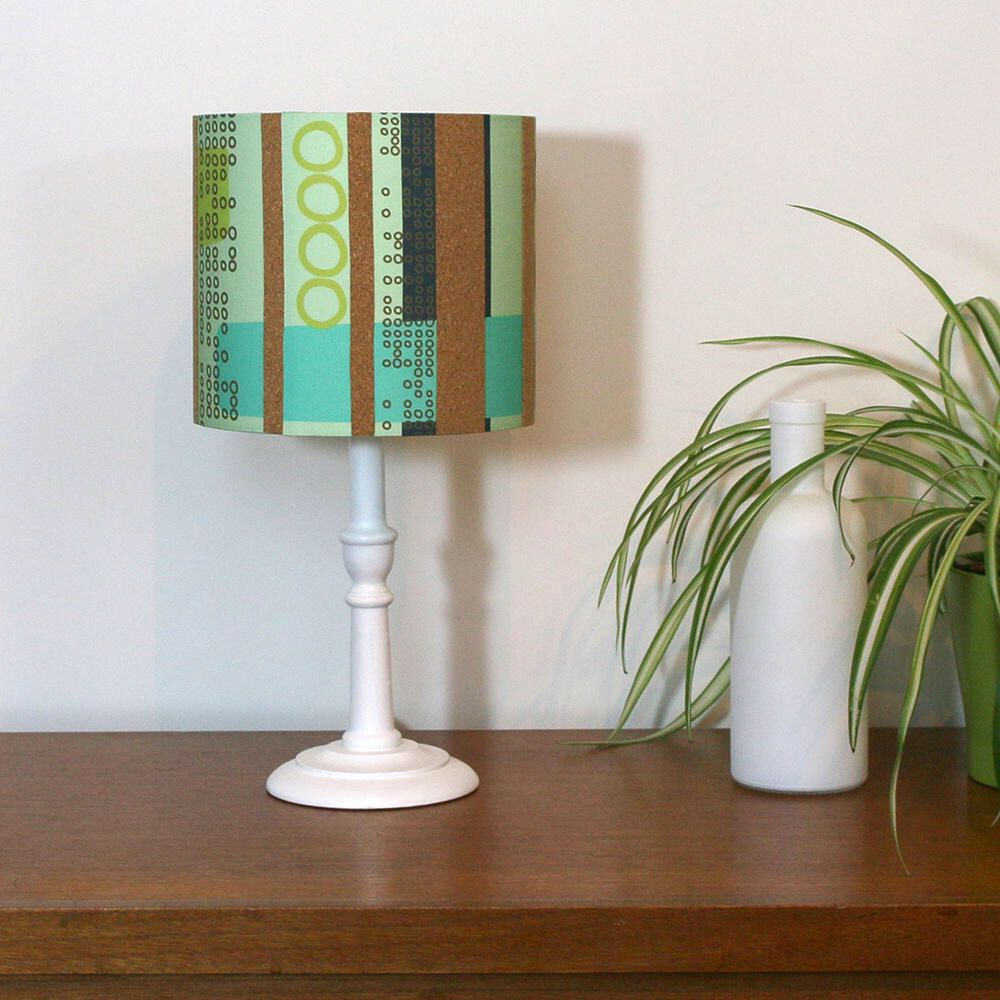 Retro cork lampshade 20cm lamp shade lime green turquoise blue excited to share the latest addition to my etsy shop retro cork lampshade aloadofball Choice Image