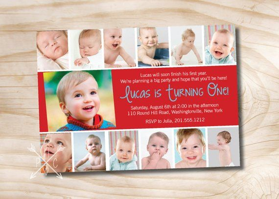 Photo Montage First Birthday Party Event Printable Invitation One Year Old Boy Girl