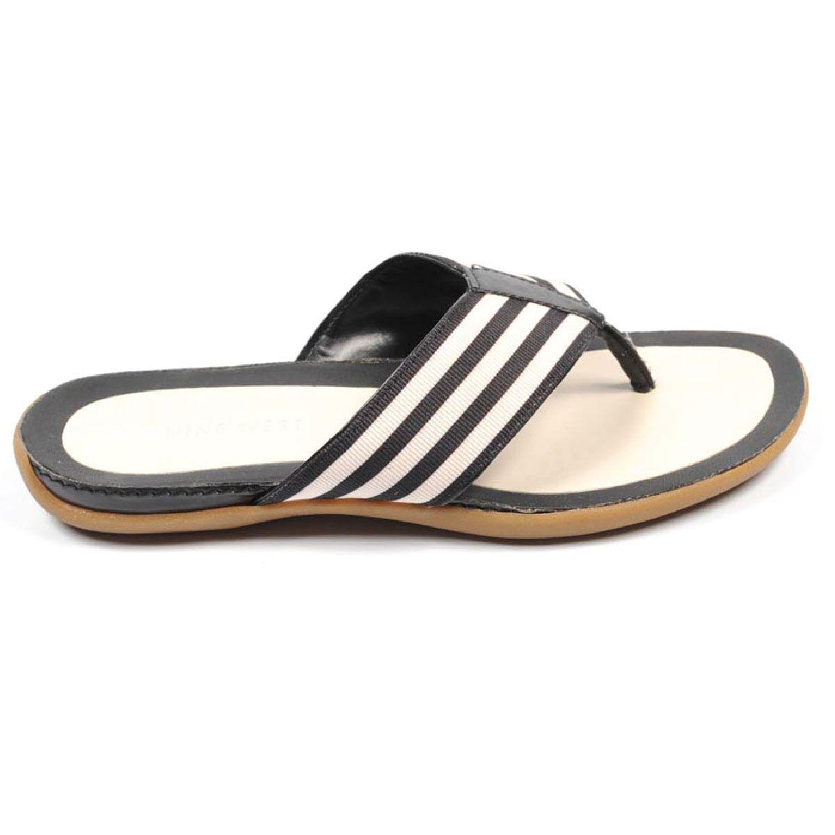 da0f5722d Nine West Womens Flat Sandal NWDELAKAS NATBK BLK