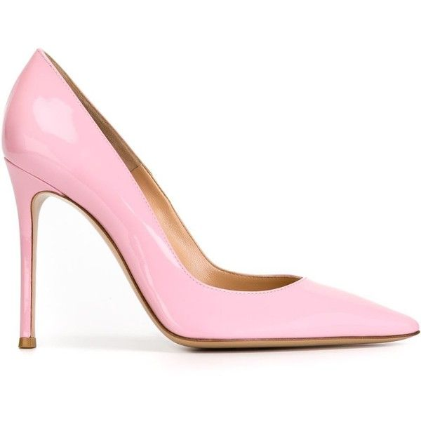 Gianvito Rossi Gianvito Pumps ($637) ❤ liked on Polyvore featuring shoes, pumps, heels, pointy-toe pumps, pointy toe stiletto pumps, patent leather pointed toe pumps, pink shoes and pink pumps