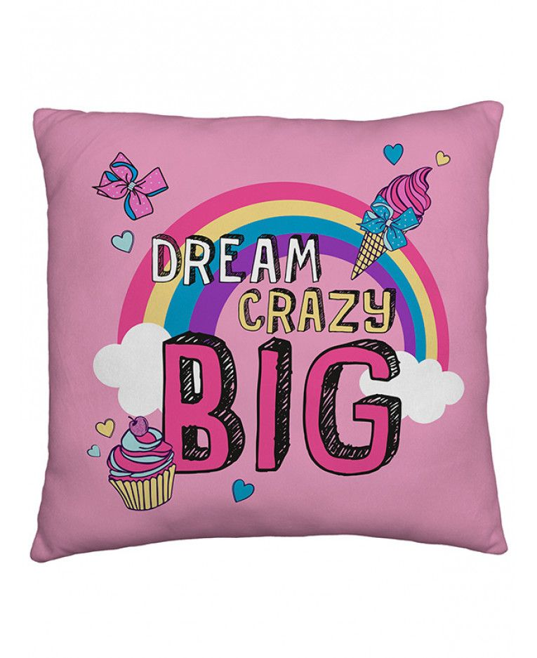 b403f2785d420 This JoJo Siwa Bow Reversible Cushion features a rainbow design on one side  and a big pink bow on the other. Free UK delivery available