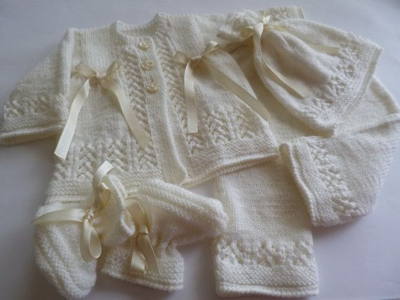 Knitted Christening/Coming Home Newborn Outfit. Newborn by Pitusa
