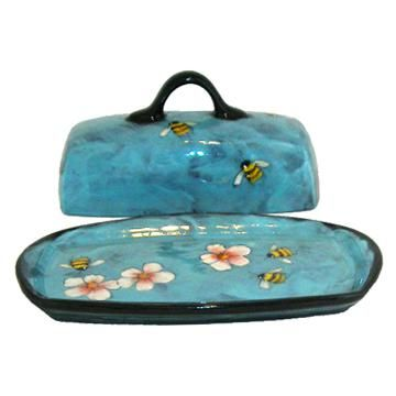 Rainbow Gate Pottery: Butter Dish With Bees On Turquoise