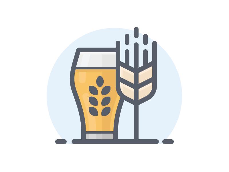 Beer With Barley Badge Design Beer Bike Icon