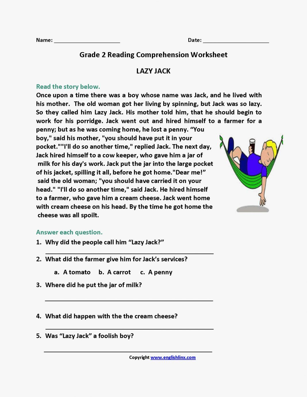 Reading Comprehension Worksheets Loveable Reading