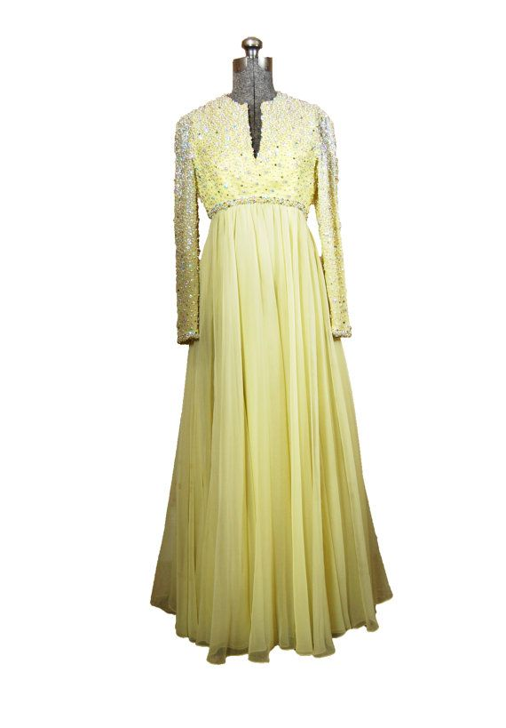 372afb4f02d5 Vintage 1960s Dress - 60s GOWN Yellow Chiffon Designer Victoria Royal Bead  Sequin Evening Mad Men - Small / Extra Small
