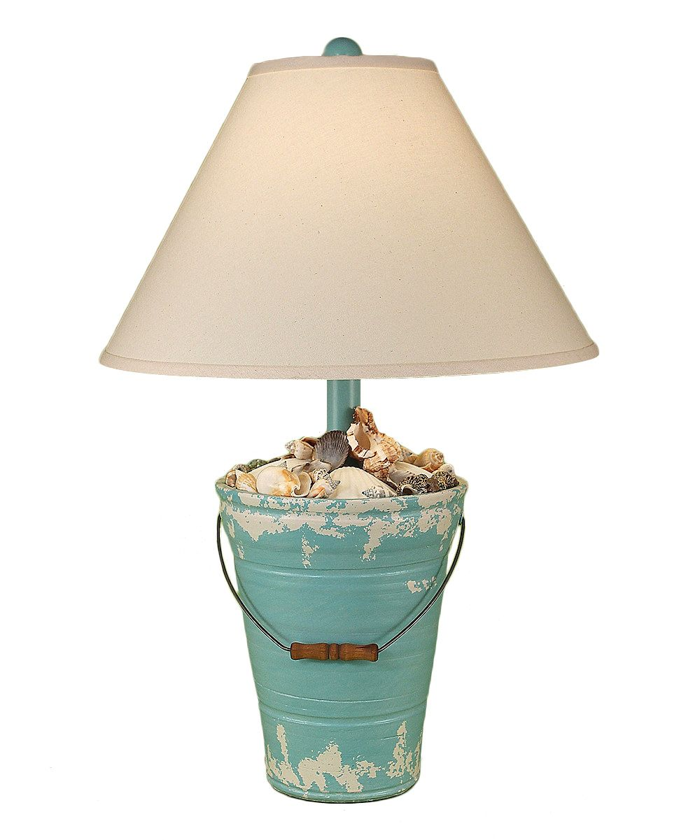 Glass mermaid sitting on conch shell accent lamp eclectic table lamps - Coast Lamp Mfg Blue Shell Bucket Table Lamp