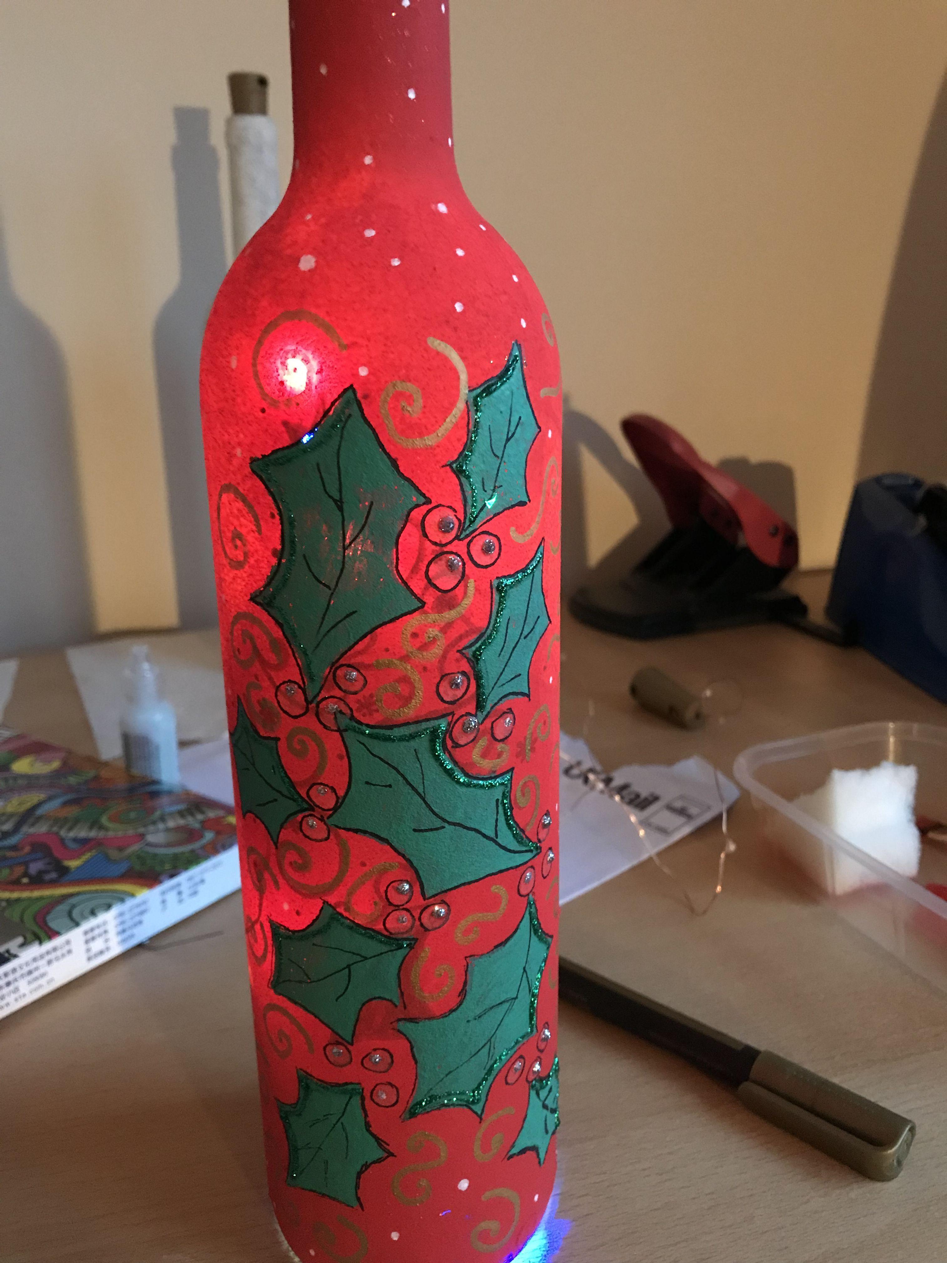 Pin By Esperanza Montano Reyes On Painted Wine Bottles Wine Bottle Crafts Bottles Decoration Painted Wine Bottles