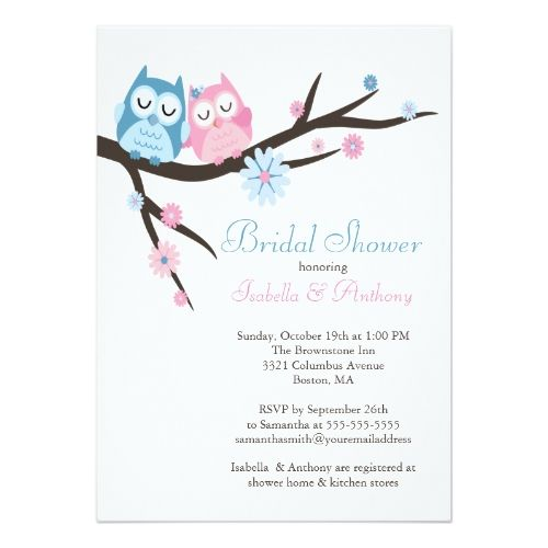 Owl Wedding Invitations Cute In Love Owl Couple Bridal