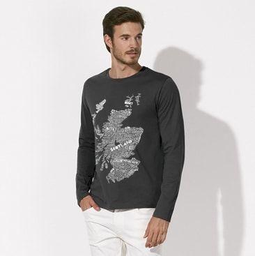 7b2225d9d1f Scottish Clothing Scotland Map Mens Tee Shirt Black
