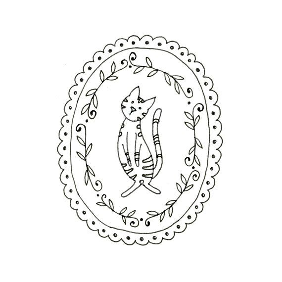 Embroidery pattern of a little cat with stripes, surrounded by a frame made of vines and scallops.    This is a digital file to be