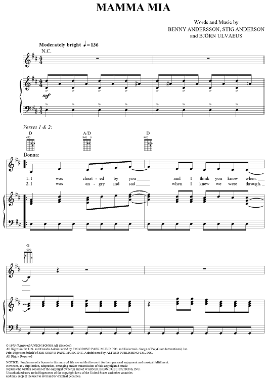 Mamma Mia Sheet Music by ABBA | Sheet music, Mamma mia and Lyrics