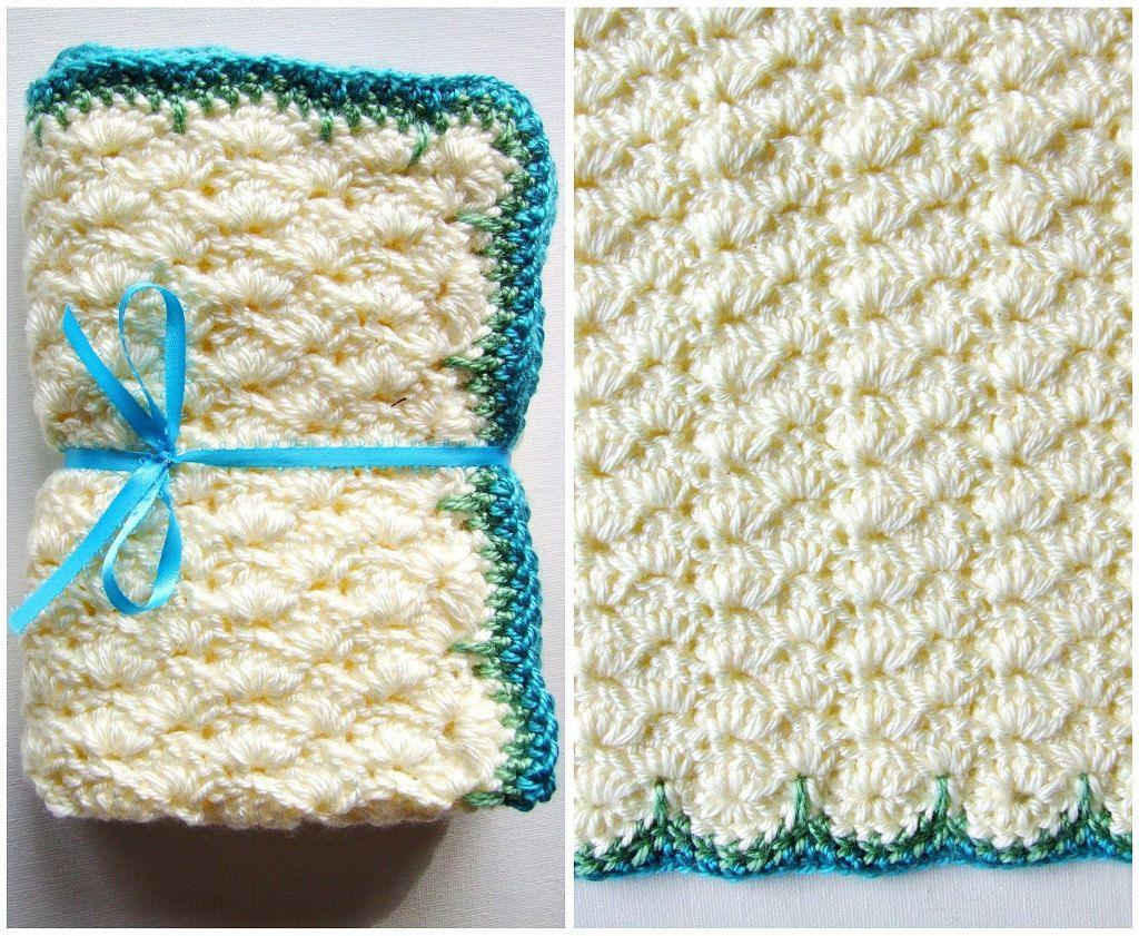 Crochet Baby Blanket Modern White Blue and Green | crochet ...