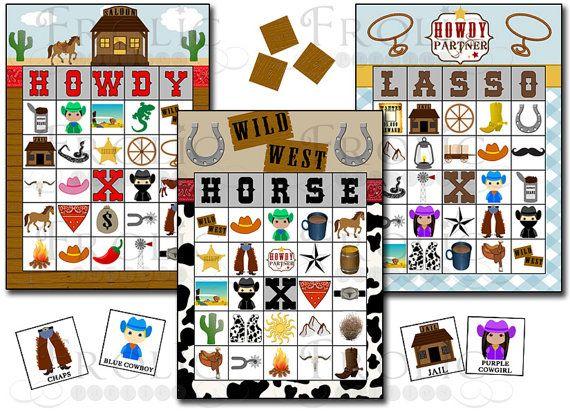 Cowboy Bingo 30 Printable Bingo Cards Instant Download In