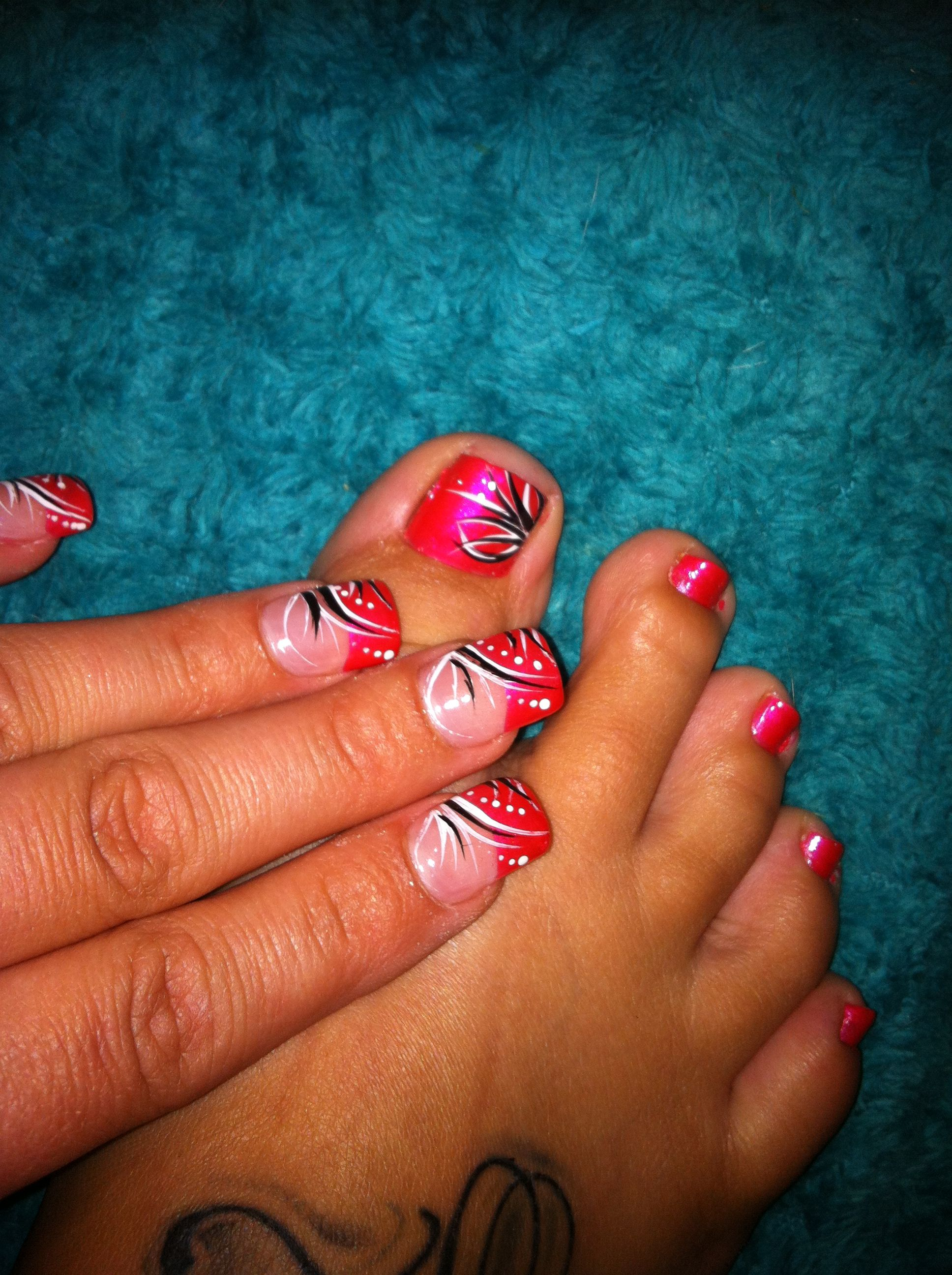 Nail art by Lisa, Grant st. Buffalo, NY, Wills Nails! Pink, black and white, simple lines, flower strokes