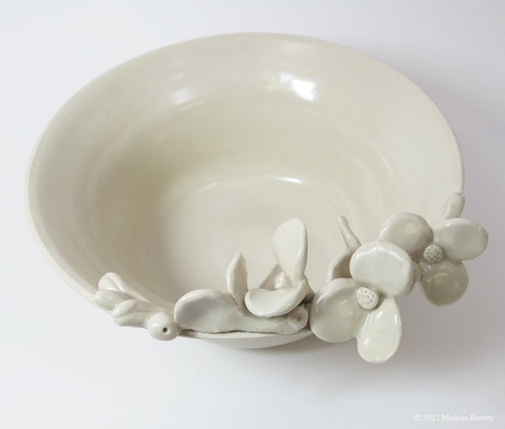 Sculpted Flowers and Seed Pods on a Ceramic Bowl in Winter White. $75.00, via Etsy.