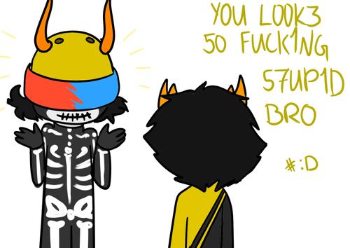 Kurloz wearing Mituna's helmet. The extra holes make it look extra silly~