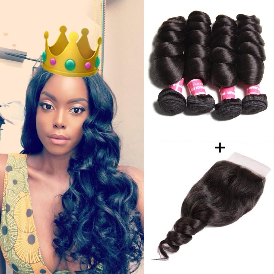Brazilian Loose Wave Hair 4 Bundles with 4*4 Lace Closure