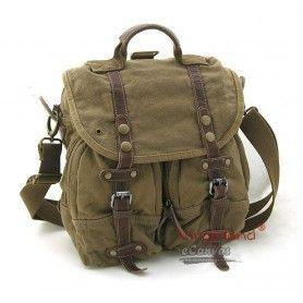 Shoulder messenger bag, mens backpack, khaki - $82.54