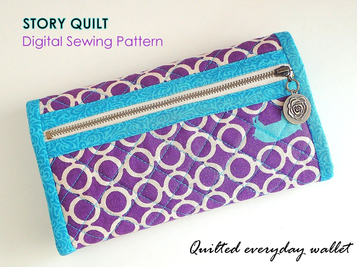 Easy to sew quilted long wallet bag pattern